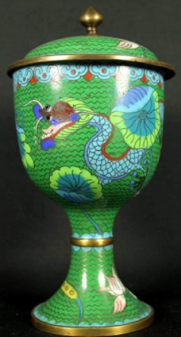 Green Cloisonne Vase with Top