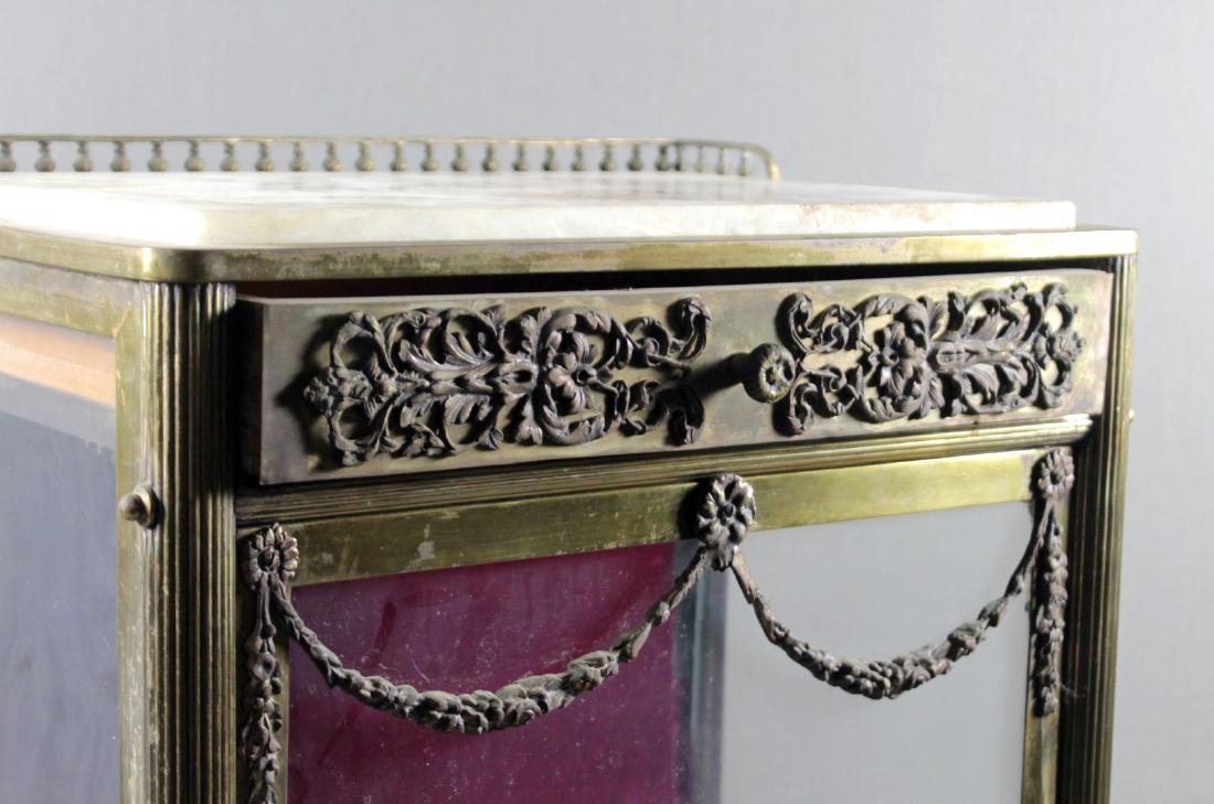 ANTIQUE BRASS, GLASS AND MARBLE VITRINE STAND - 2