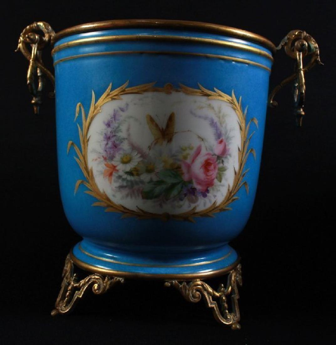 19TH C SEVRES STYLE PAIR OF JARDINIERE - 3