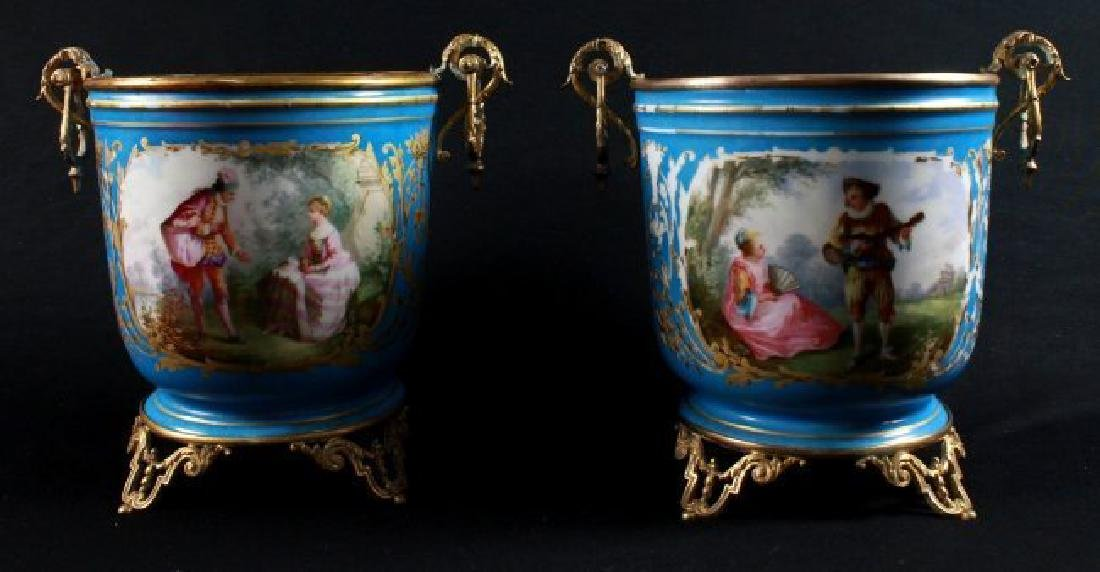19TH C SEVRES STYLE PAIR OF JARDINIERE - 8