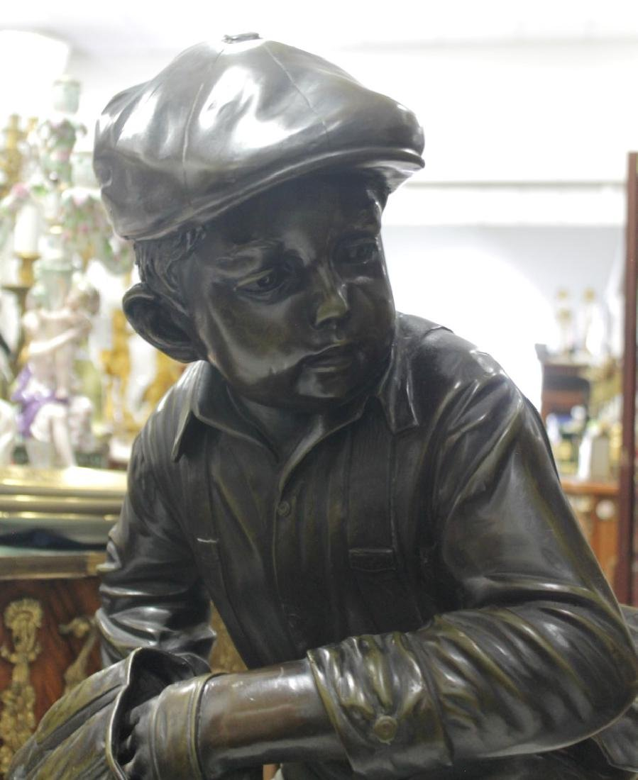 LARGE PATINATED BRONZE FIGURE OF A BASEBALL PLAYER - 2