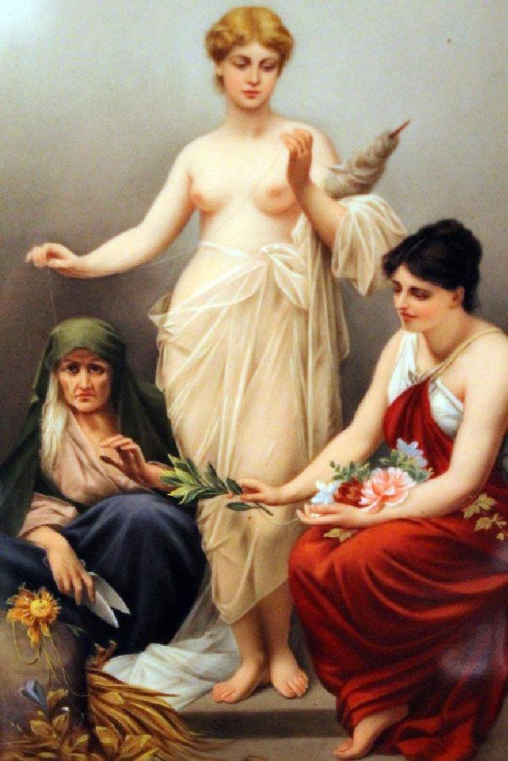 """IMPORTANT KPM PORCELAIN PLAQUE WITH PAINTING """"THE THREE - 2"""