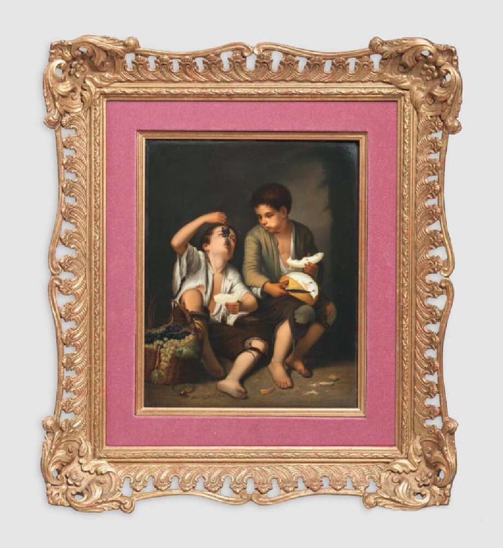 KPM Porcelain Plaque Depicting Boys Eating Fruit,