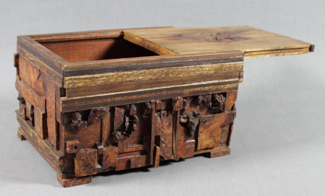 ANTIQUE CARVED WOODEN BOX - 3