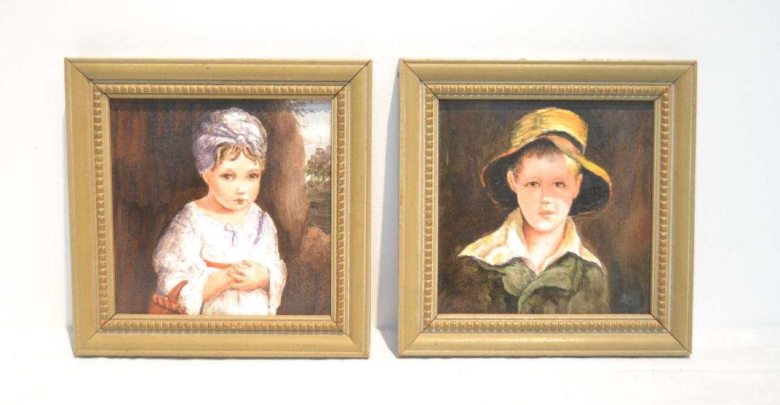 PAIR OF HAND PAINTED GERMAN PORCELAIN PORTRAITS OF BOY