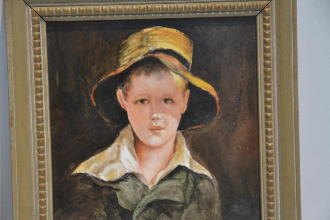 PAIR OF HAND PAINTED GERMAN PORCELAIN PORTRAITS OF BOY - 3