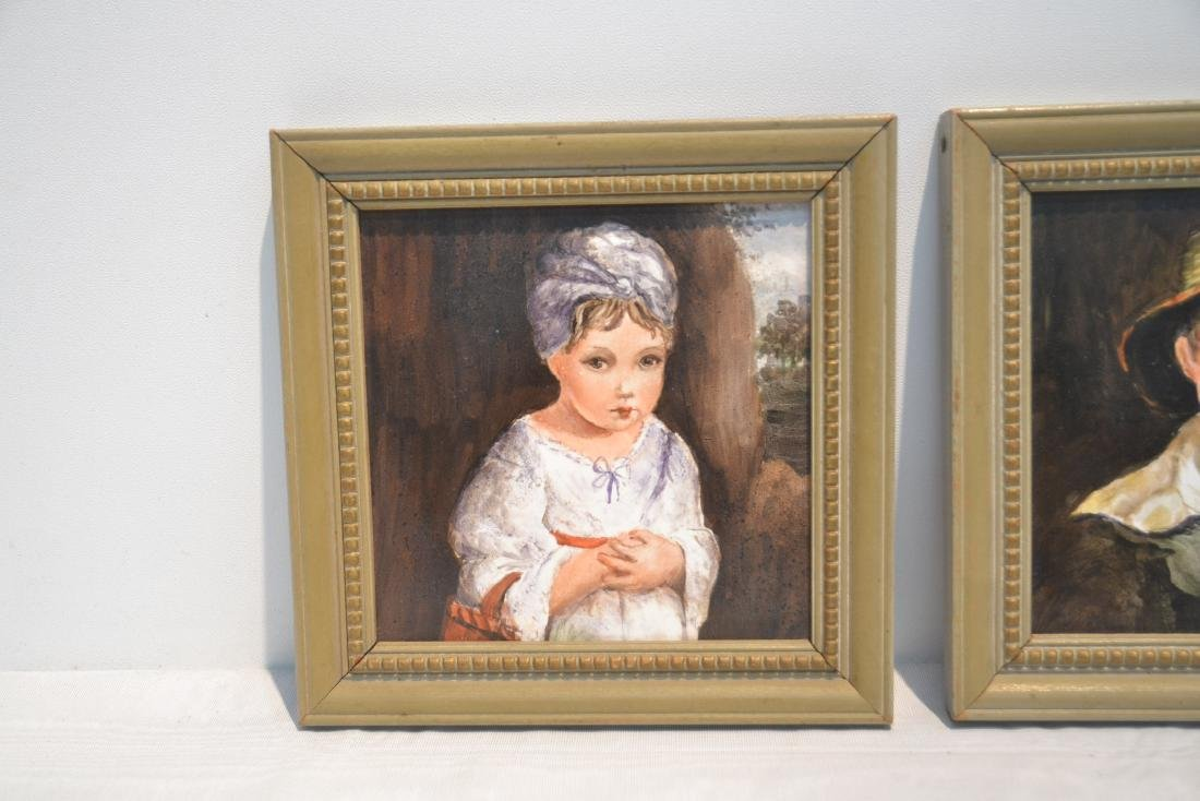 PAIR OF HAND PAINTED GERMAN PORCELAIN PORTRAITS OF BOY - 4