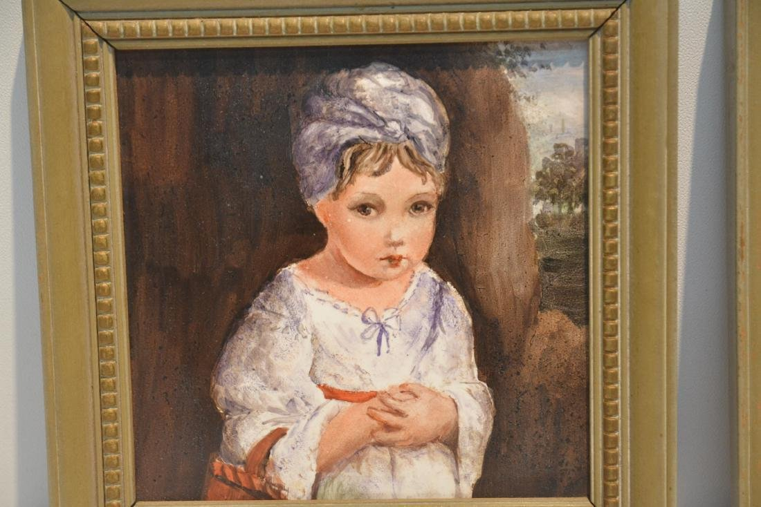 PAIR OF HAND PAINTED GERMAN PORCELAIN PORTRAITS OF BOY - 5