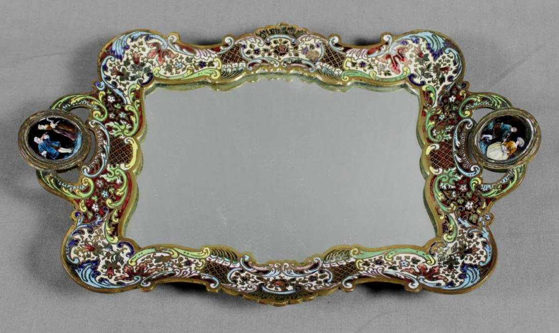 19TH C. FRENCH CHAMPLEVE MIRRORED TABLE TRAY