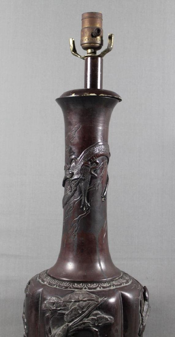 CHINESE BRONZE FIGURAL LAMP - 3