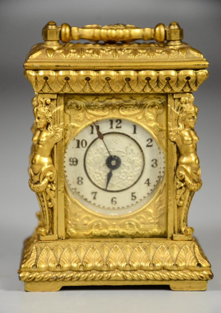 Continental gilt carriage clock, caryatid column - 2