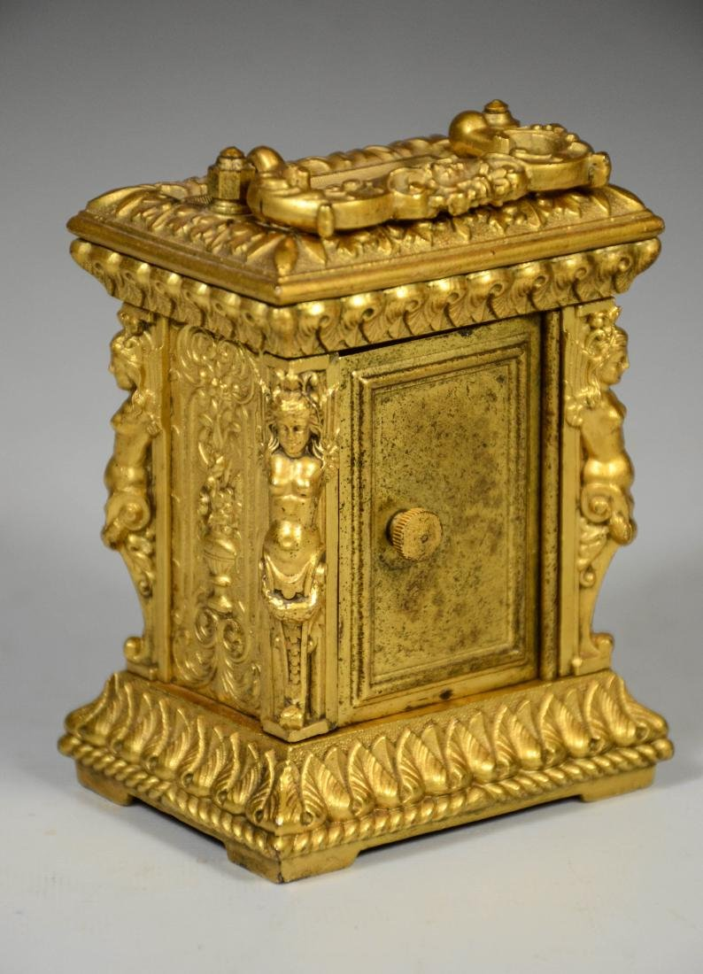 Continental gilt carriage clock, caryatid column - 5