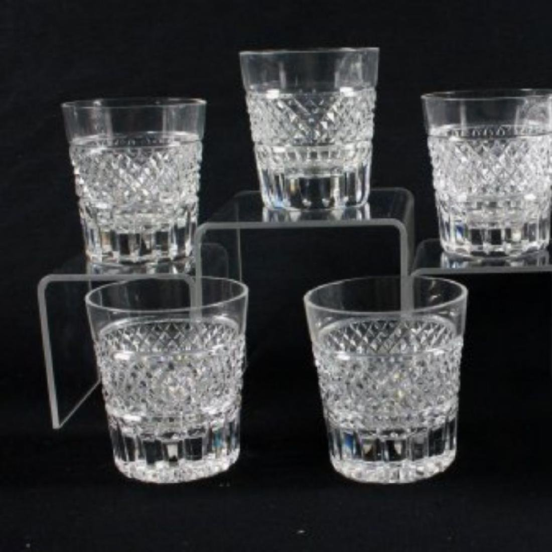 """CROSSHATCH AND PUNTE MOTIF CUT GLASS MARKED"""" MADE IN"""
