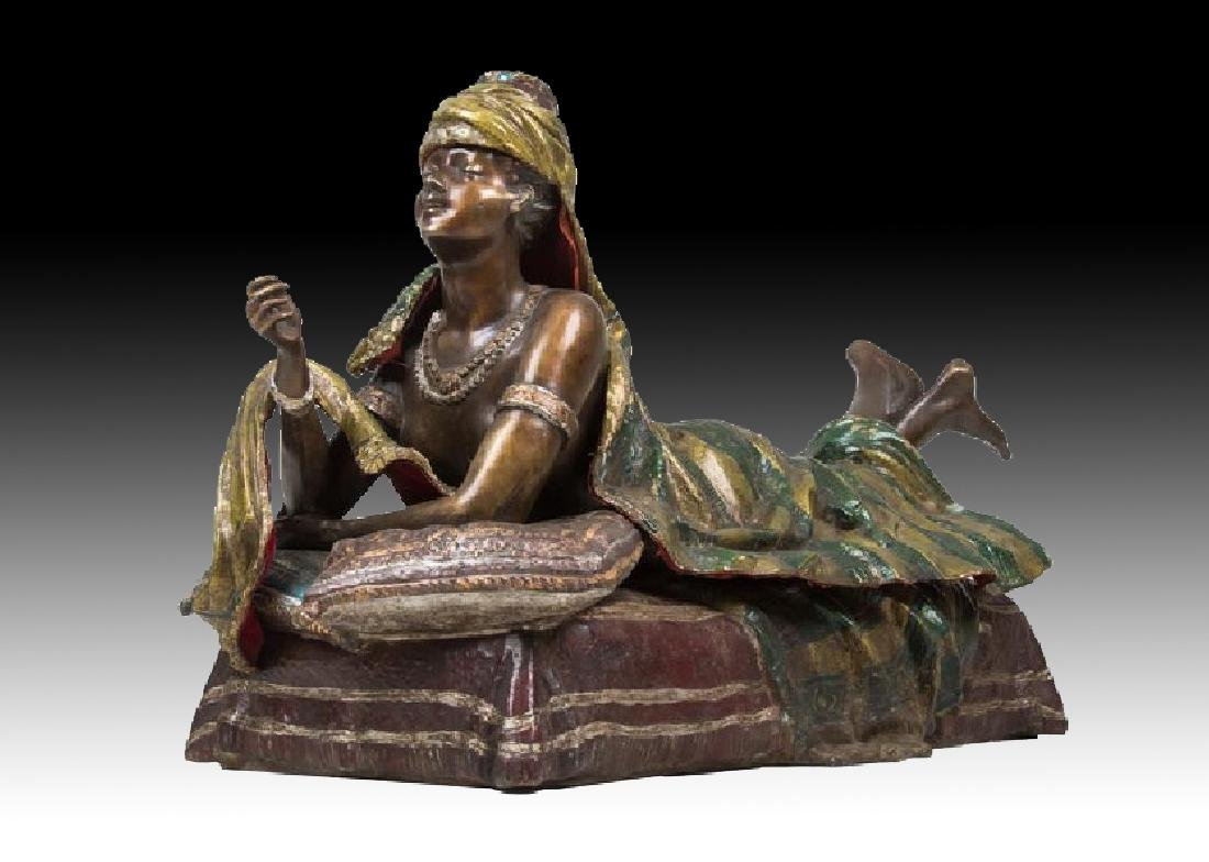 AUSTRIAN STYLE POLYCHROME BRONZE OF A WOMAN