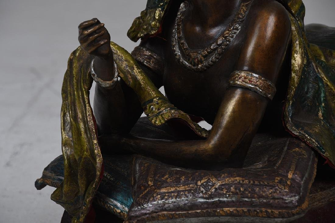 AUSTRIAN STYLE POLYCHROME BRONZE OF A WOMAN - 4