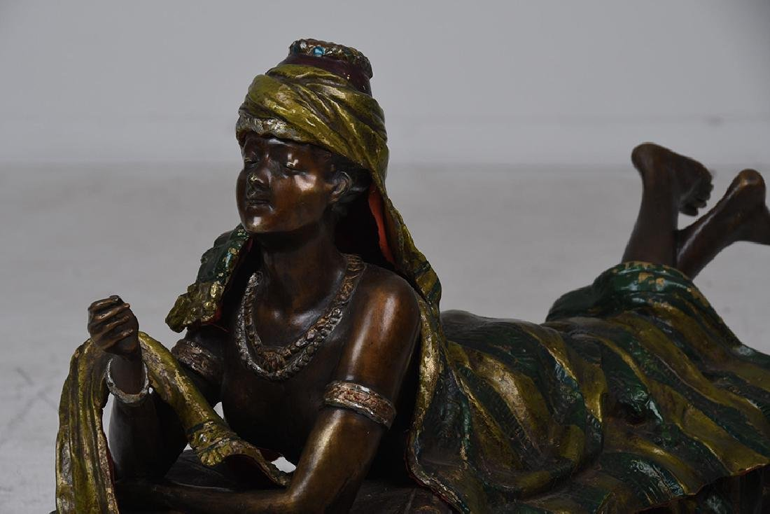 AUSTRIAN STYLE POLYCHROME BRONZE OF A WOMAN - 5