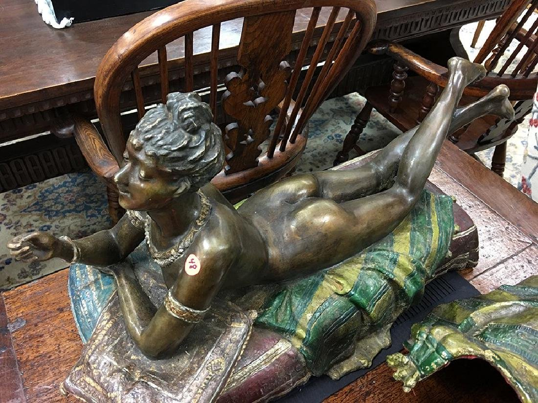 AUSTRIAN STYLE POLYCHROME BRONZE OF A WOMAN - 7