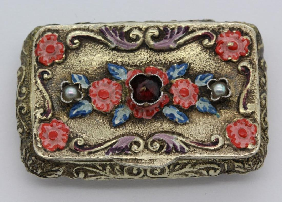 19th C. Victorian Gilt Silver Jeweled Enamel Viennese - 2