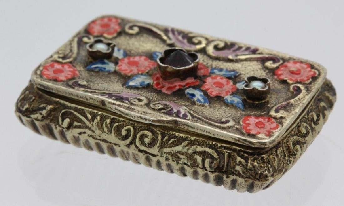 19th C. Victorian Gilt Silver Jeweled Enamel Viennese - 4