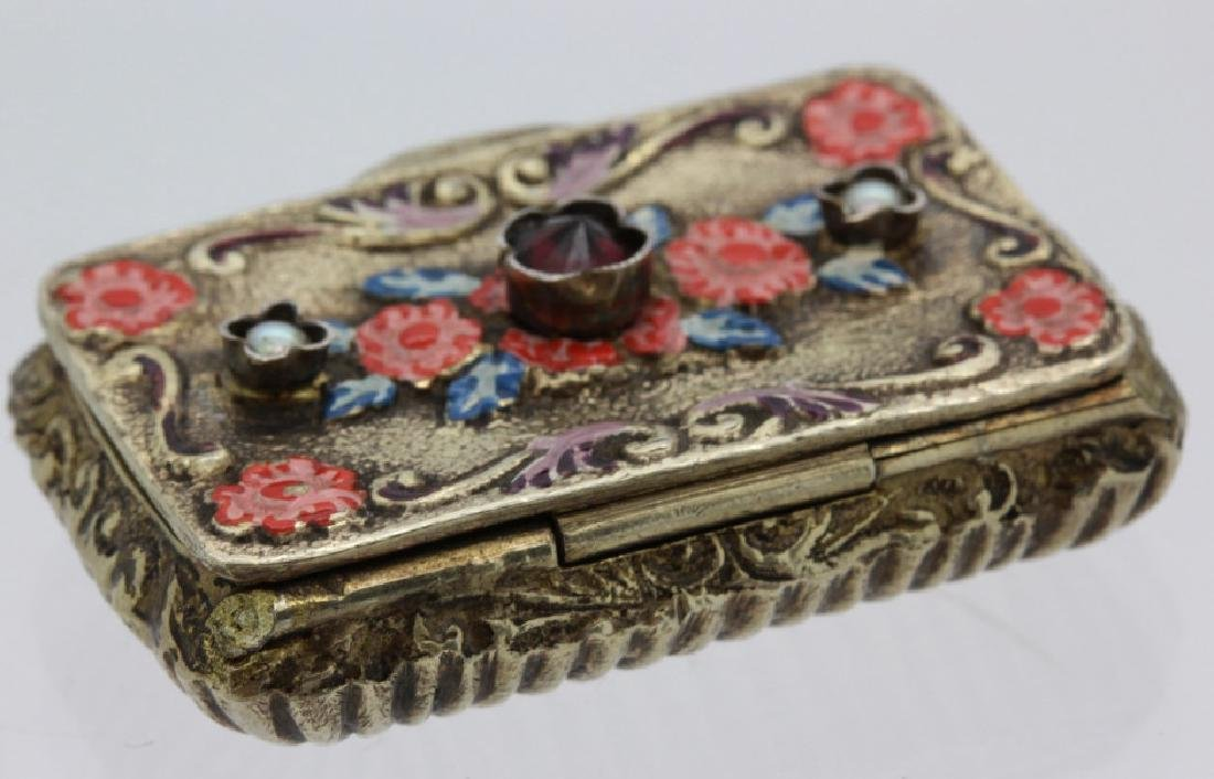 19th C. Victorian Gilt Silver Jeweled Enamel Viennese - 5