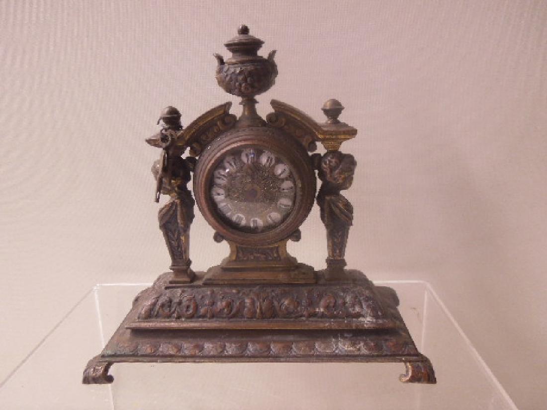 19th c. Continental Bronze Desk Clock