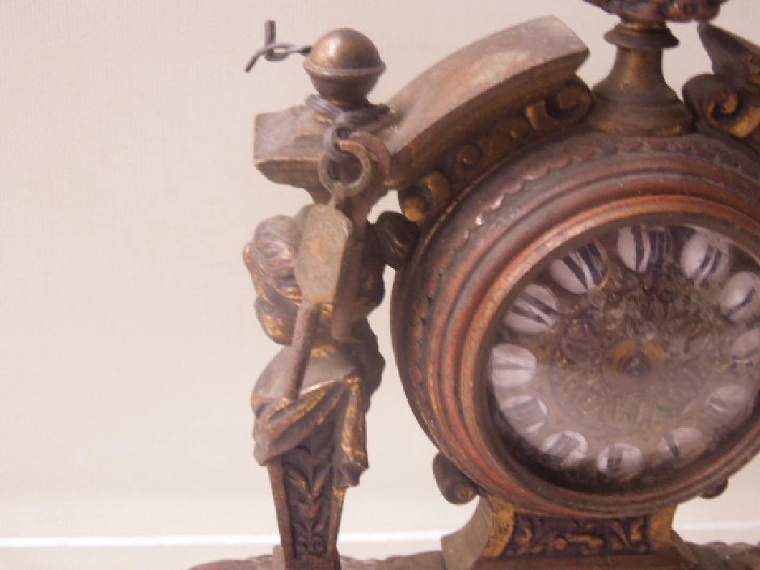 19th c. Continental Bronze Desk Clock - 5