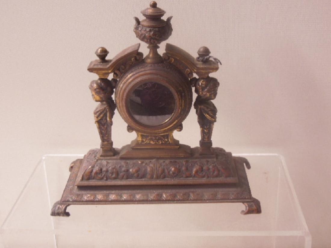 19th c. Continental Bronze Desk Clock - 7