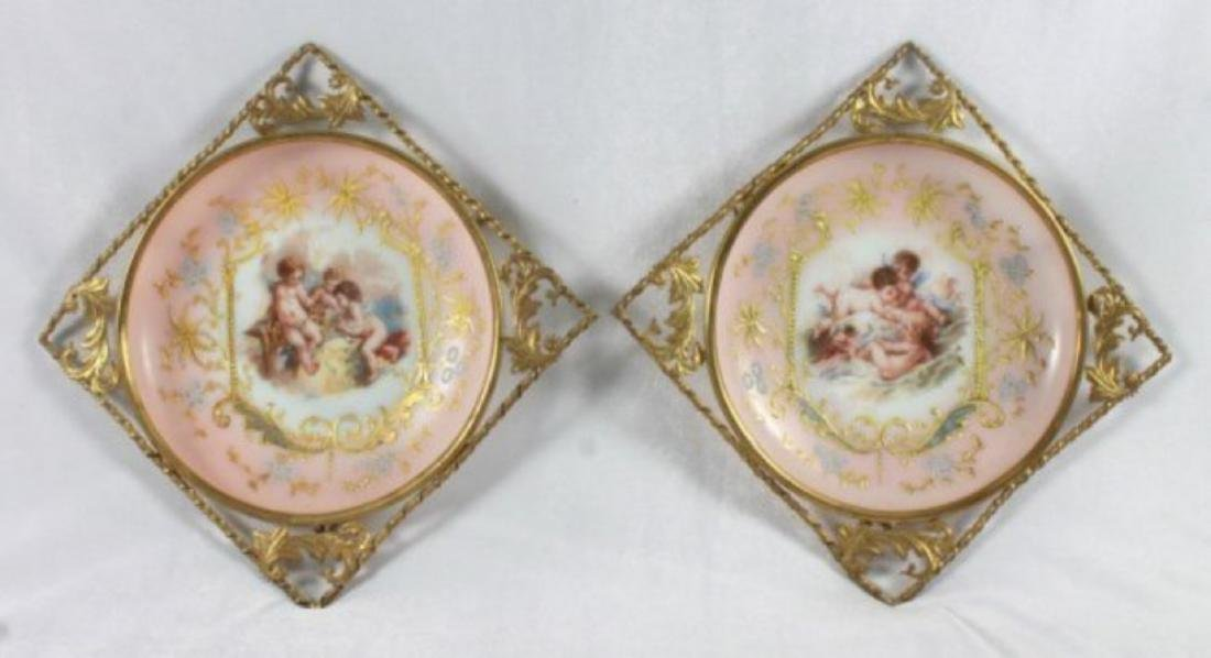 19TH C. VICTORIAN ENAMELED PORCELAIN WALL HANGINGS
