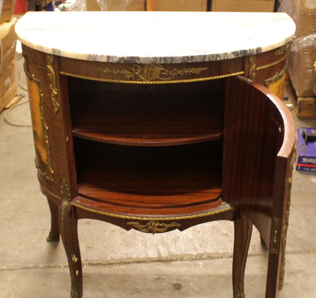 LOUIS XV STYLE PAINTED AND MAHOGANY MARBLE TOP COMMODE - 3