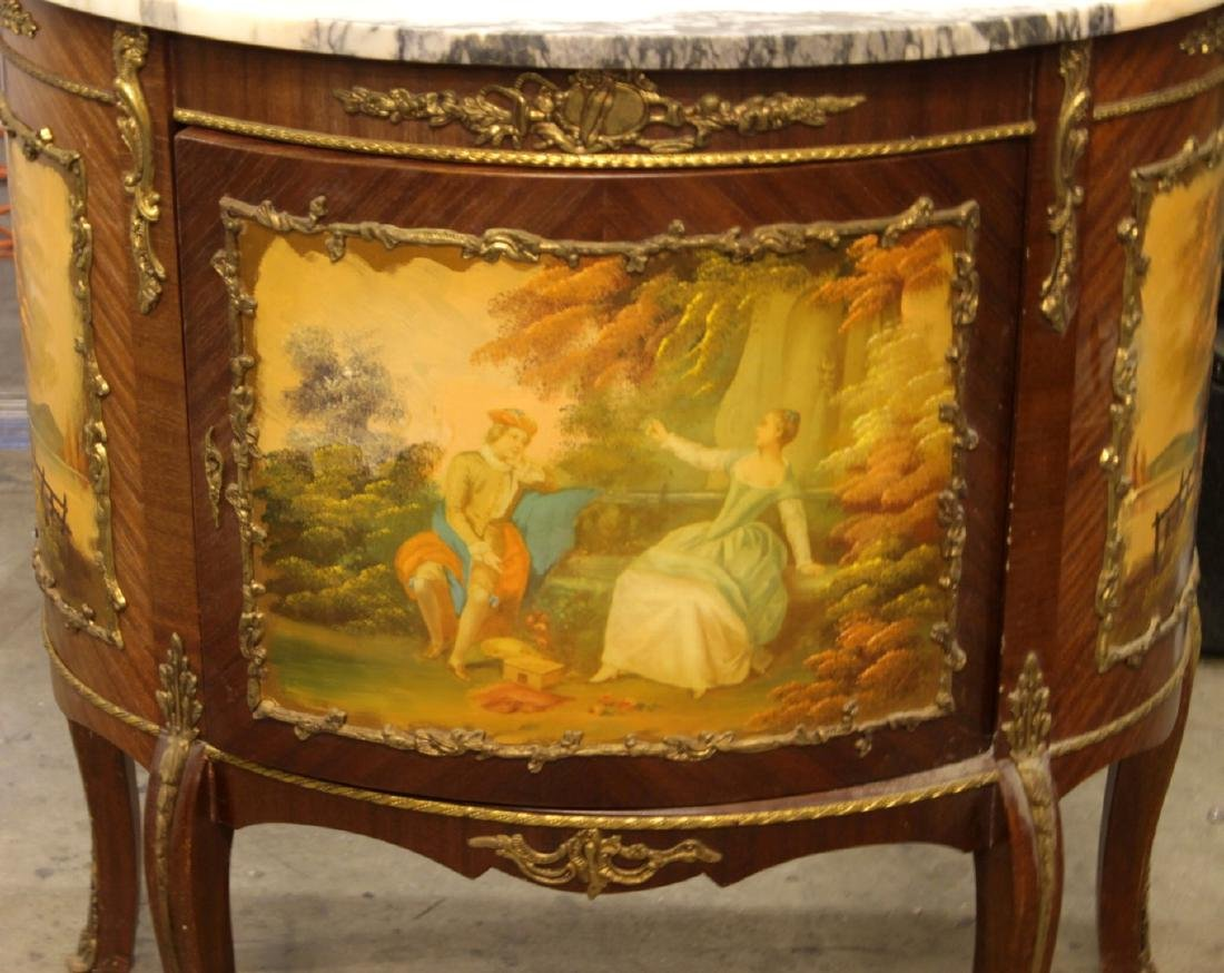 LOUIS XV STYLE PAINTED AND MAHOGANY MARBLE TOP COMMODE - 4