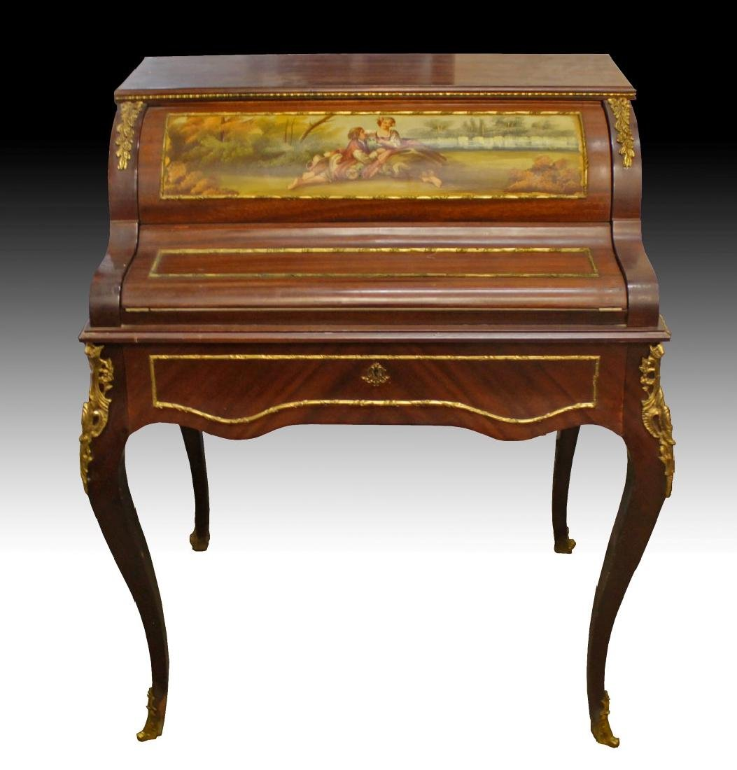 LOUIS XV STYLE PAINTED CYLINDER DESK