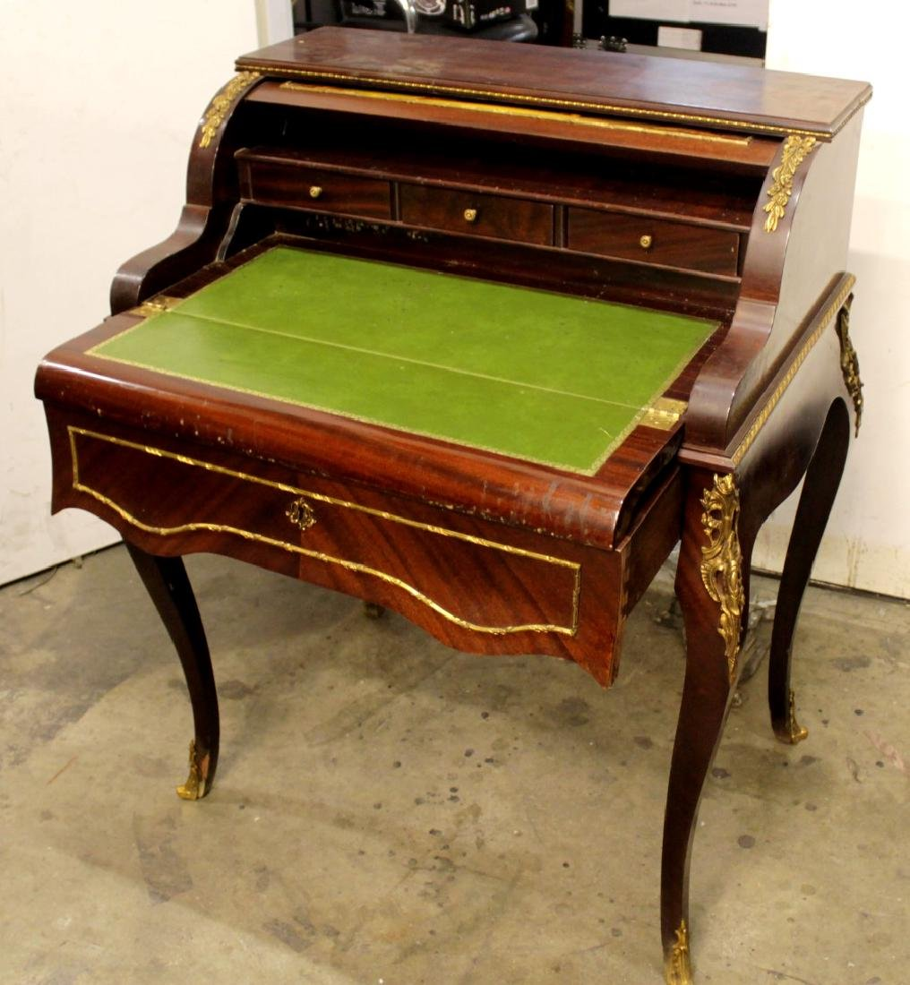 LOUIS XV STYLE PAINTED CYLINDER DESK - 3