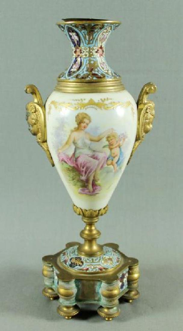 FRENCH CHAMPLEVE PORCELAIN AND ENAMEL VASE