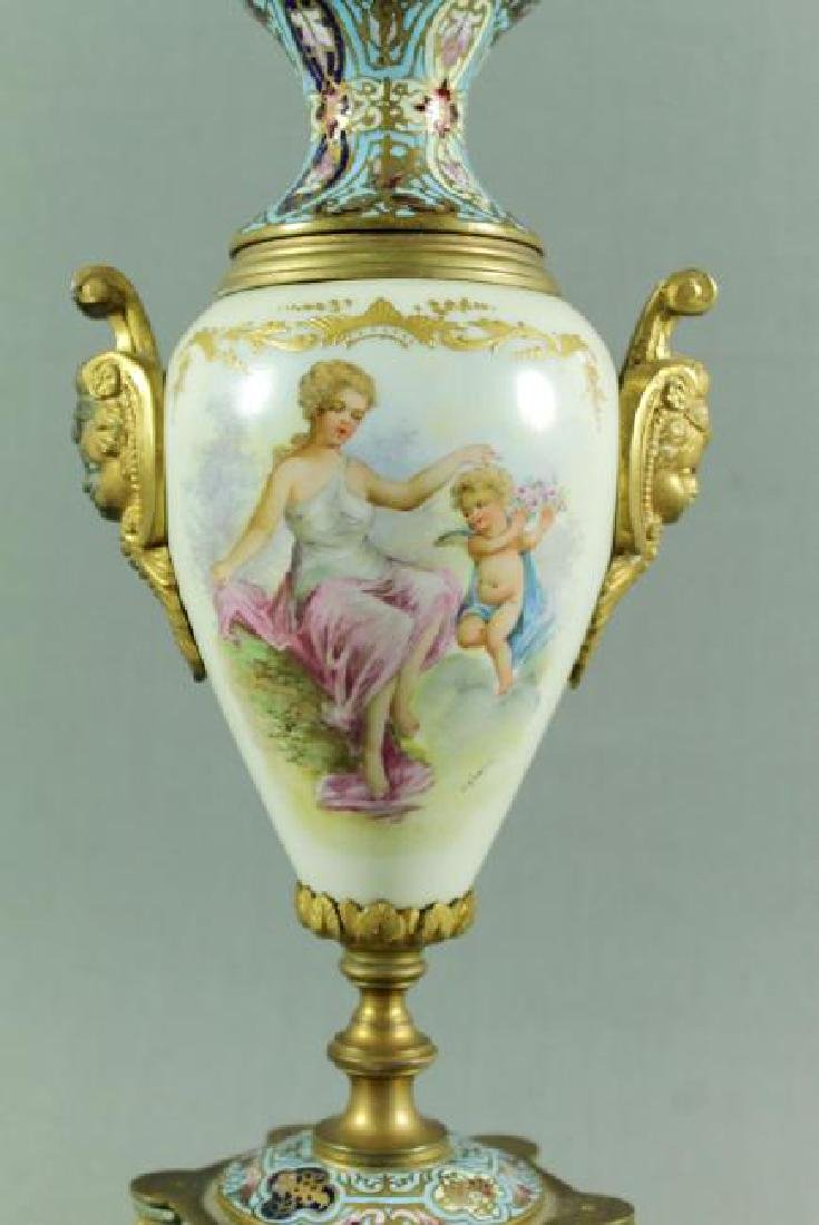 FRENCH CHAMPLEVE PORCELAIN AND ENAMEL VASE - 2