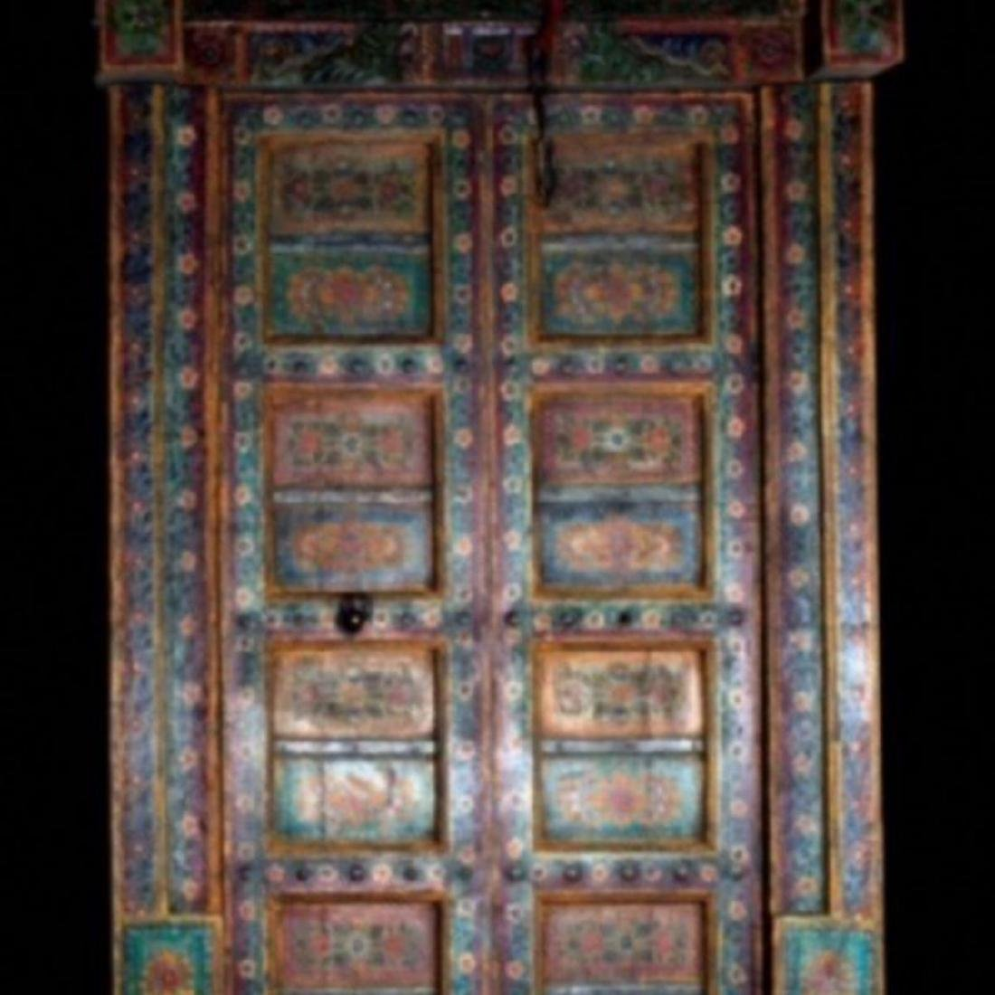 "HAVELI POLYCHROME WOOD DOORS WITH FRAME, 90.5""H"
