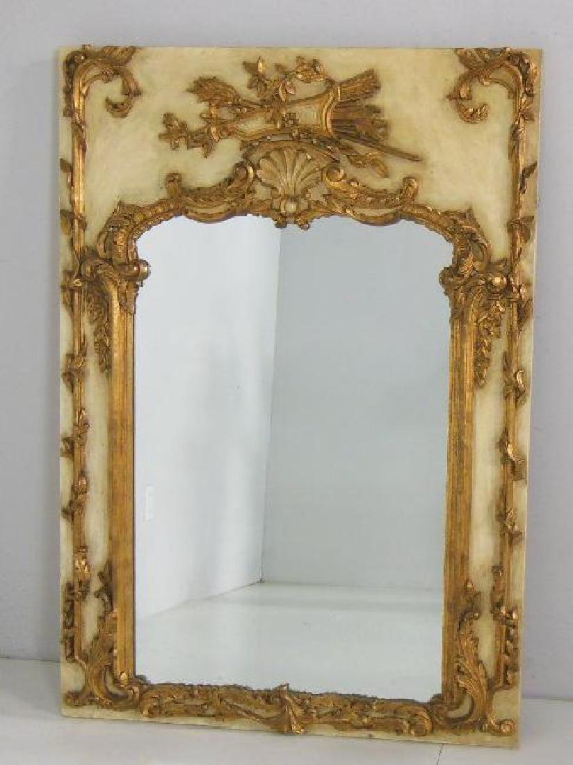 Louis XVI style painted gilt mirror