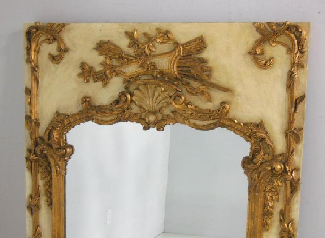 Louis XVI style painted gilt mirror - 2