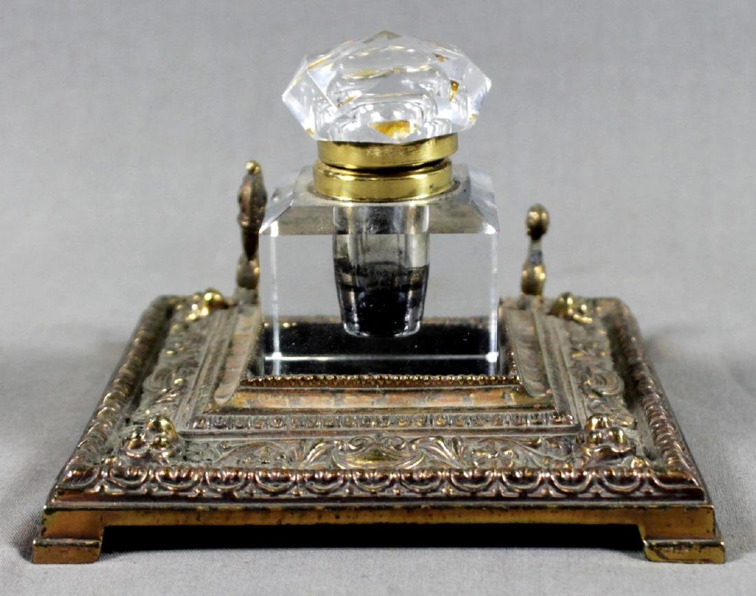 ANTIQUE BRONZE AND GLASS INKWELL SET
