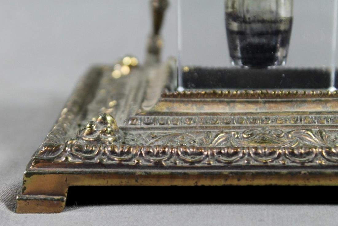 ANTIQUE BRONZE AND GLASS INKWELL SET - 3