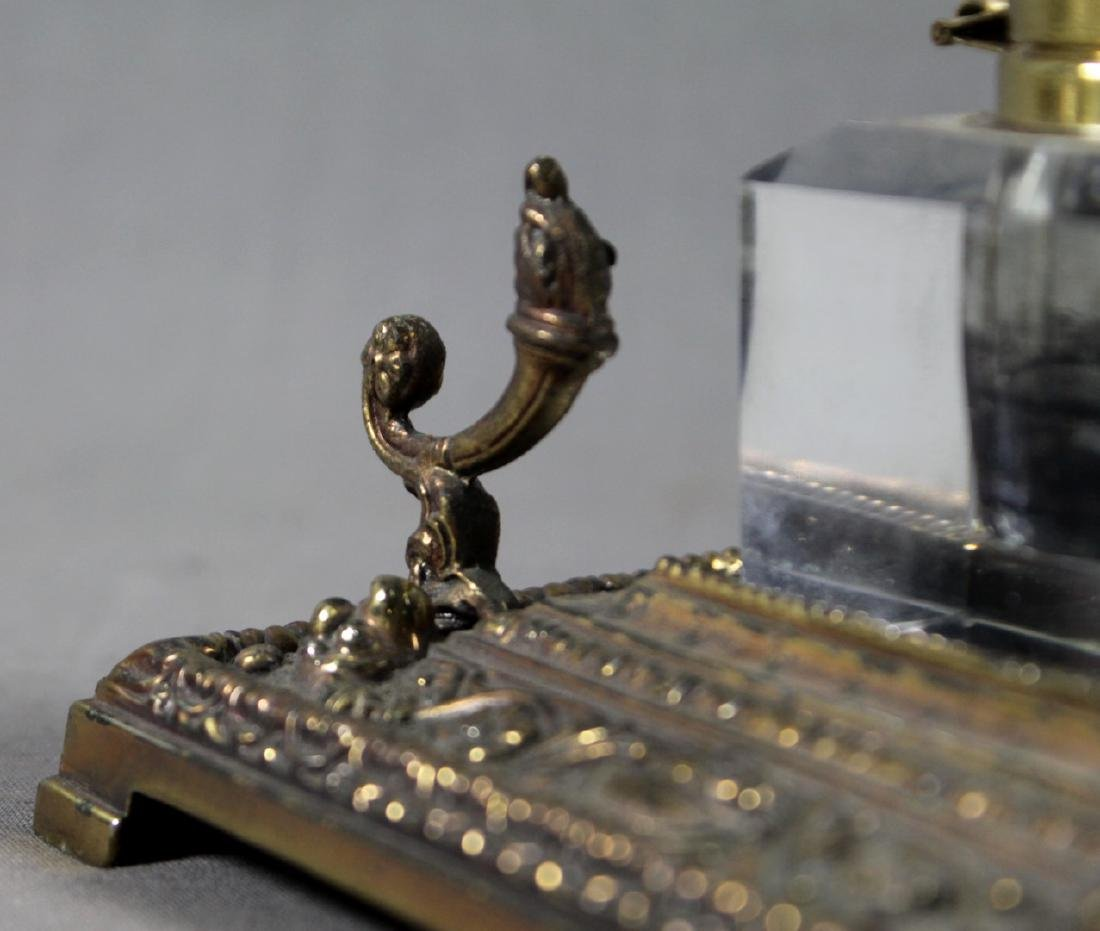 ANTIQUE BRONZE AND GLASS INKWELL SET - 4