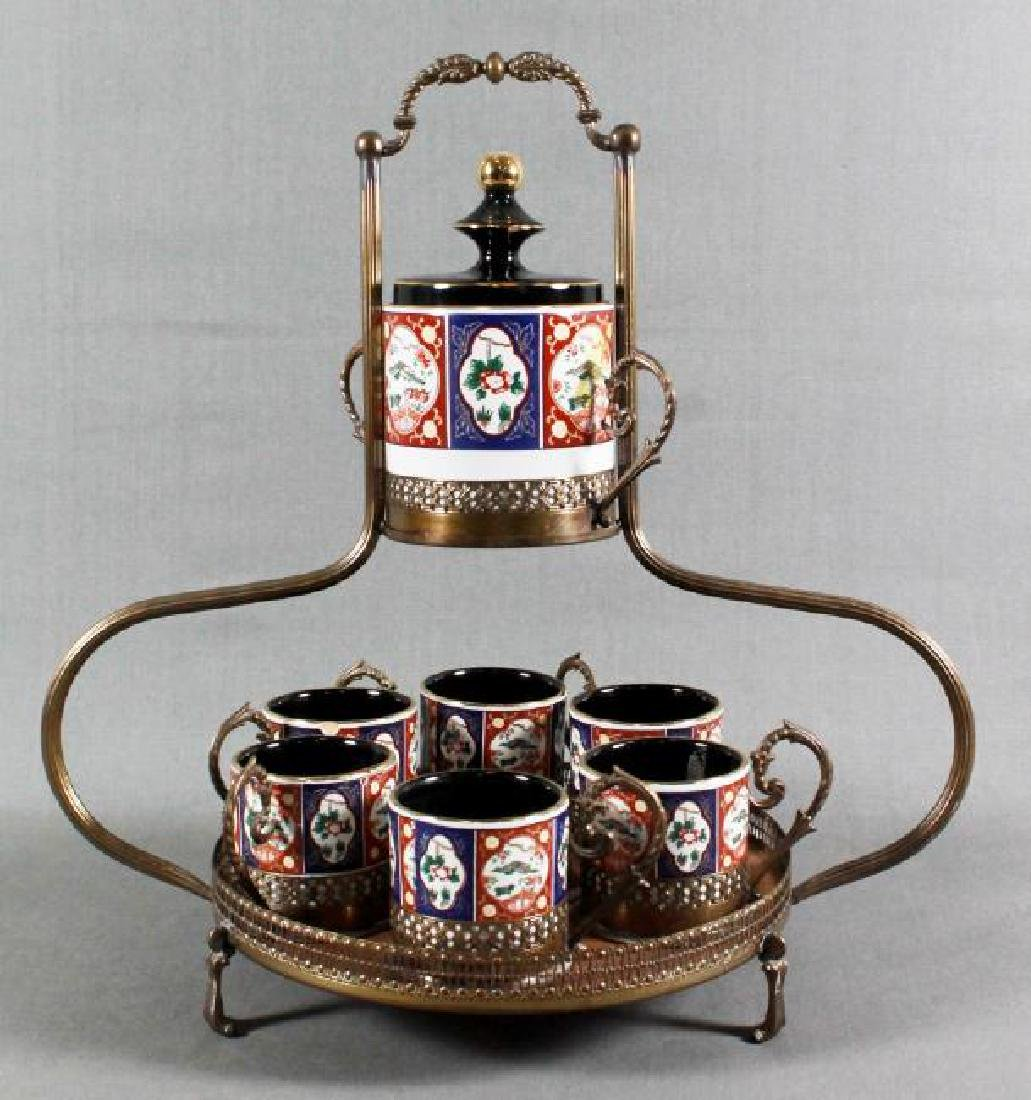 7 PC PORCELAIN TEA CADDY WITH STAND