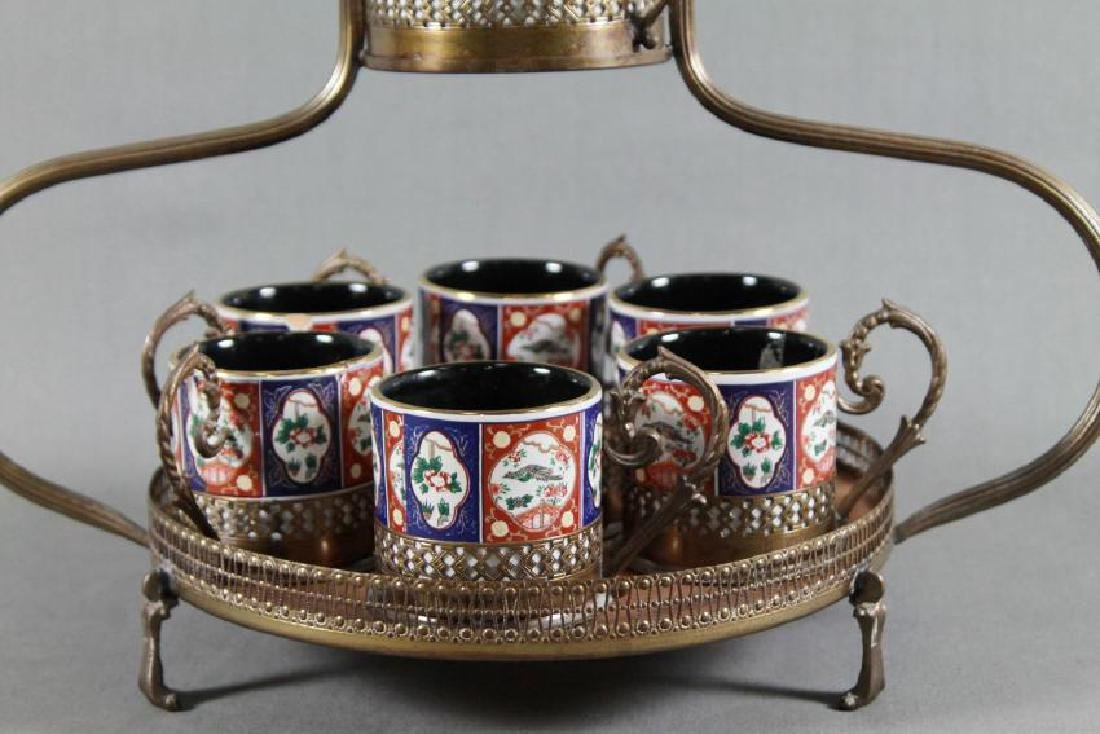 7 PC PORCELAIN TEA CADDY WITH STAND - 2