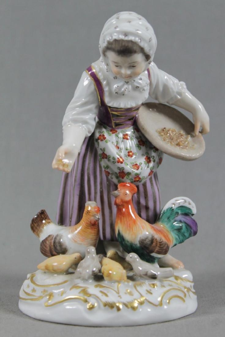 19TH C. MEISSEN FIGURE OF GIRL FEEDING CHOCKENS