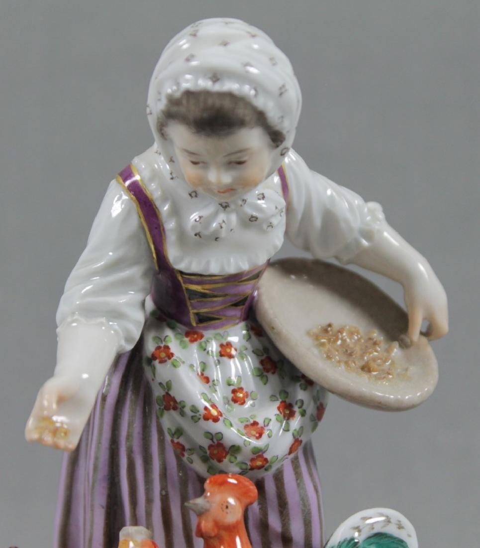 19TH C. MEISSEN FIGURE OF GIRL FEEDING CHOCKENS - 2