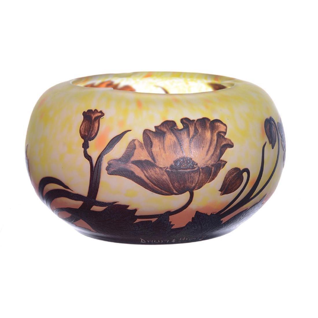 Signed Daum Nancy French Cameo Art Glass Bowl