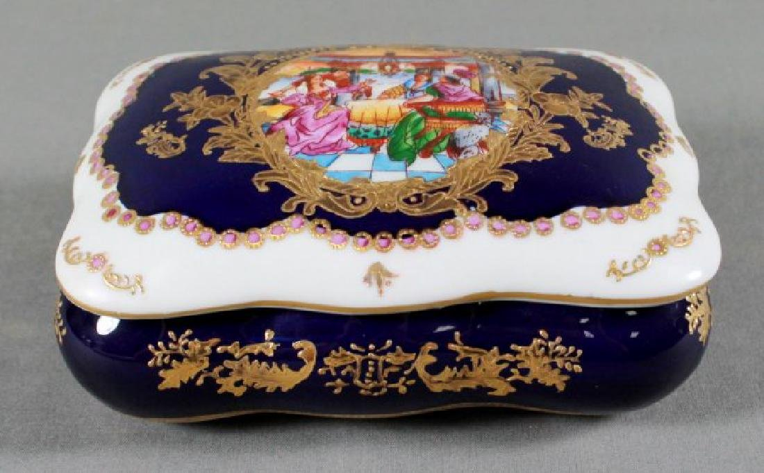 ANTIQUE SEVRES STYLE COBALT BLUE TRINKET BOX