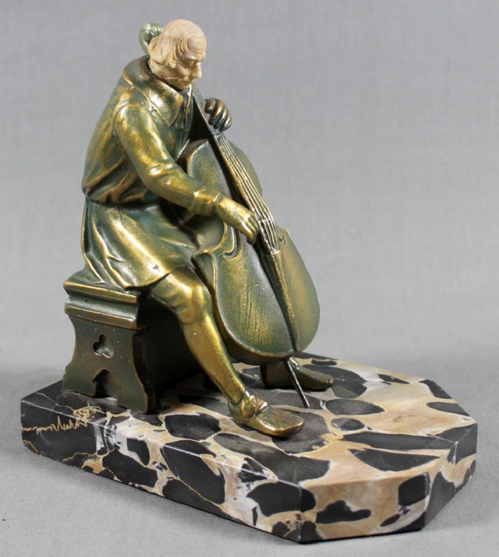 PAIR OF FIGURAL BRONZE AND MARBLE BOOKENDS - 5