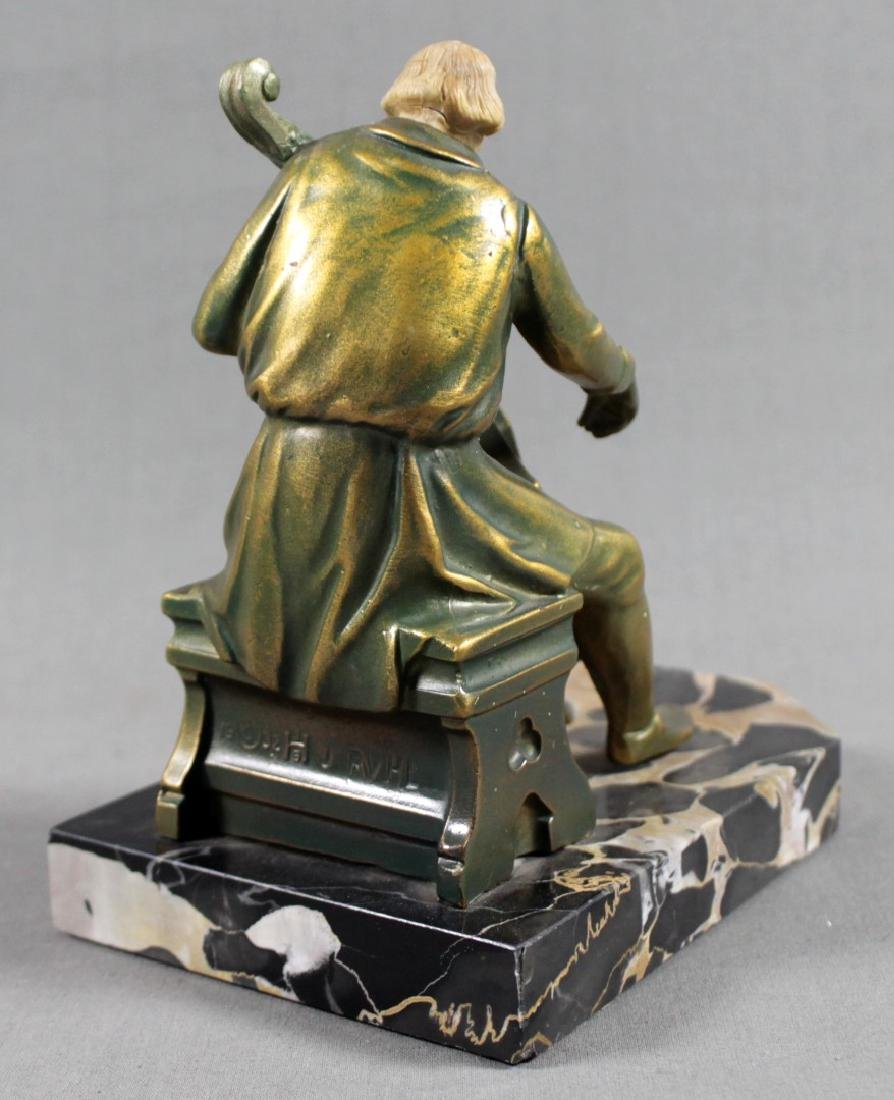 PAIR OF FIGURAL BRONZE AND MARBLE BOOKENDS - 6