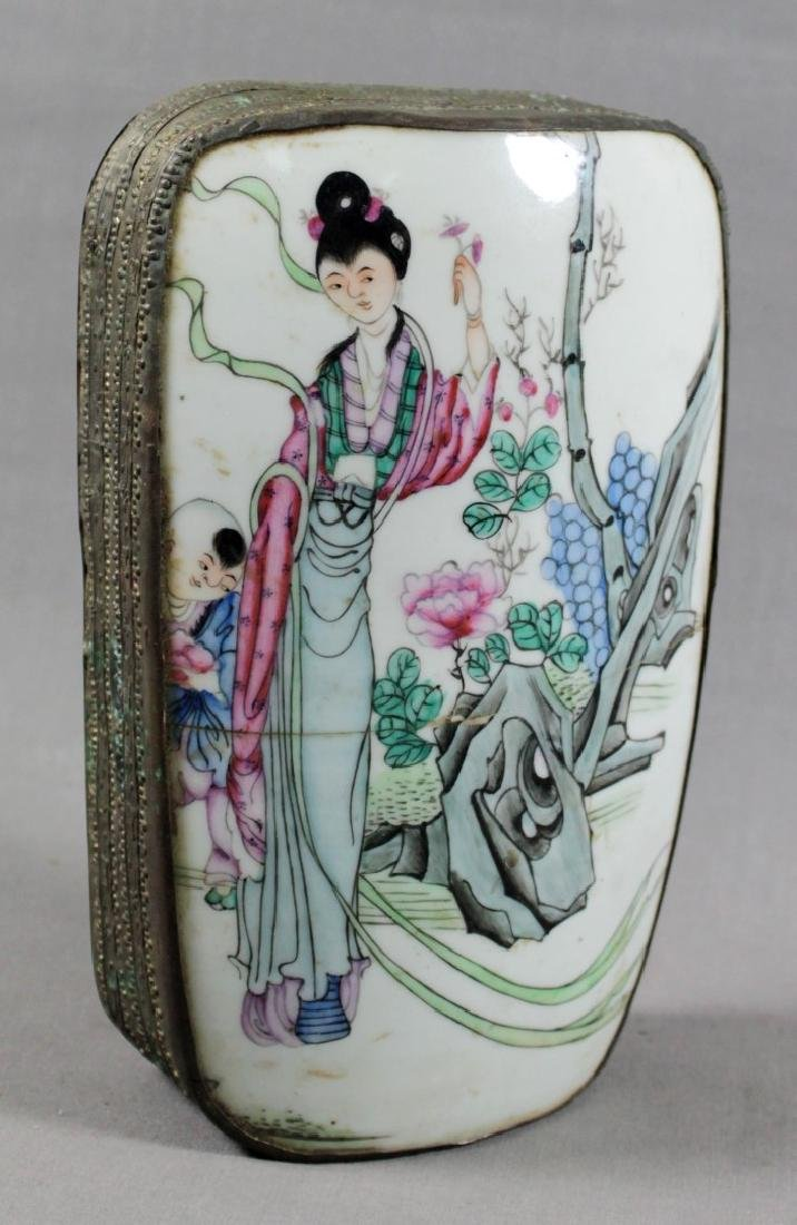 CHINESE PORCELAIN AND METAL BOX
