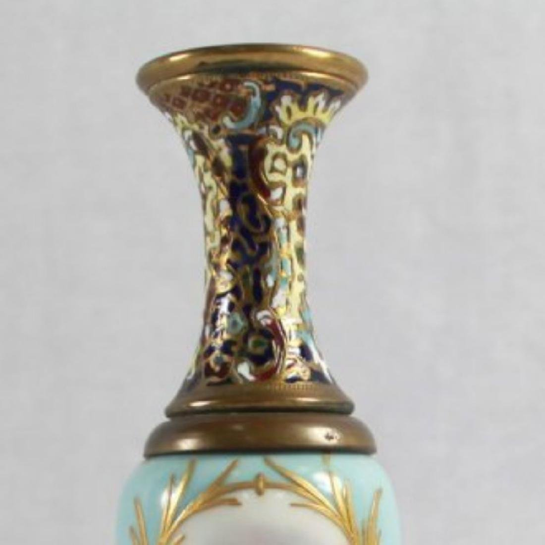 19TH C. CHAMPLEVE CABINET VASE WITH BASE - 5